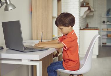 Dreng sidder ved computer